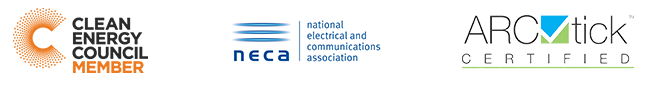 Clean Energy Council Member (CEC), National Electrical and Communications Association Member (NECA), ARC Tick Certified